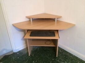 Light pine corner computer desk