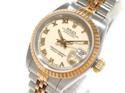 Auth ROLEX Datejust 69173 Silver 18K Yellow Gold Women