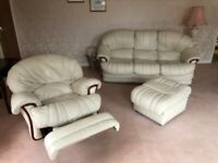 Italian leather cream sofa, recliner & pouffe