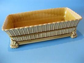 Beautiful Antique Porcelain Retangular Footed Ochre / Mustard Planter / Jardinere