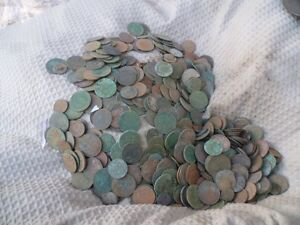 LARGE COLLECTION UNCLEANED COINS METAL DETECTING FINDS