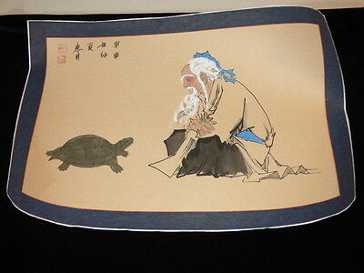 "CHINESE JAPANESE HAND PAINTED SCROLL WISE MAN & TURTLE TALKING SIGNED 20"" X 29"""