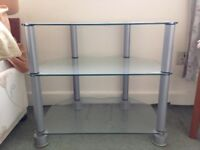 Glass shelf TV stand