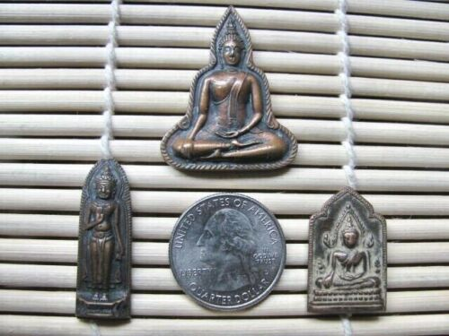 Three Vintage Thai Metal Buddhist Amulets / Talismans