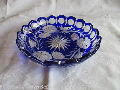 schöner alter Kristall Teller Anbietteller blau Überfangglas Schliff Ø 15 cm TOP