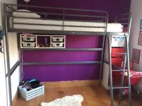 Loft Bed Frame Silver Colour. Good Condition.