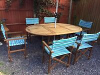 6 FOLDING DIRECTORS CHAIRS AND TABLE