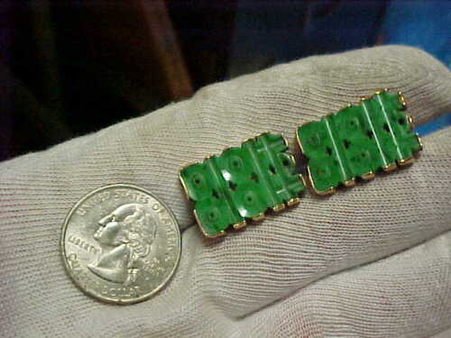 15 grams tw. Chinese Spinach Green Nephrite Jade 14k Solid Gold Cufflinks