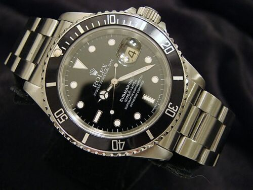 Rolex Submariner Date Stainless Steel Watch Black Dial Bezel Mens Sub 16610 - watch picture 1