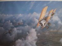 ROYAL FLYING CORPS BIPLANE IN AERIAL COMBAT DURING WORLD WAR 1 print in original frame £150-