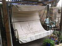 Metal and fabric grey/cream garden swing seat