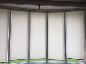 Roller Shades Linen -5 panels bay window 75 1/2 H & 24 1/4W