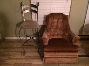 four iron chairs and one swivel rocker $80.00 each