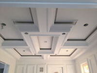 Plaster crown moulding and cast stone mantel fireplaces