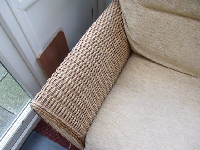 basketwork(NOT CANE) suite, two seater sofa,one chair,two glass topped tables , all in V.good cond.