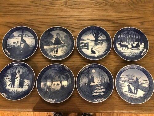 "8 Vintage Royal Copenhagen Blue Christmas Plates Denmark 7"" Hangable"