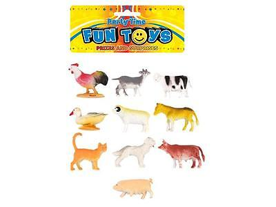 Pack 10 x Children's Kids Mini Toy Farm Animal Play Figures Figurines Cow Pig..