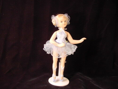Porcelain Ballerina Doll with Stand Blue Dance