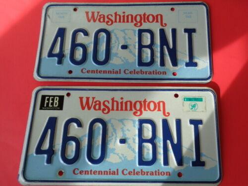 1989 Washington,WA,WN State Passenger License PlatePair Used For 87-90 YOM