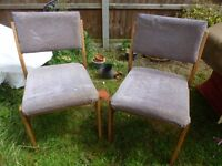 Pair of wooden dining chairs wood chairs multicolour stripes.
