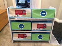 Boys storage unit, book shelf and lampshade