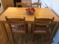Great Condition Solid Wood Kitchen Table & 4 Chairs