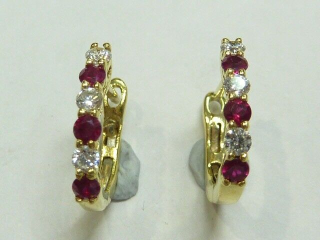 18ct Yellow Gold Natural Diamond And Ruby Huggie Earrings Women S Jewellery Gumtree Australia Brisbane North West The Gap 1189413610