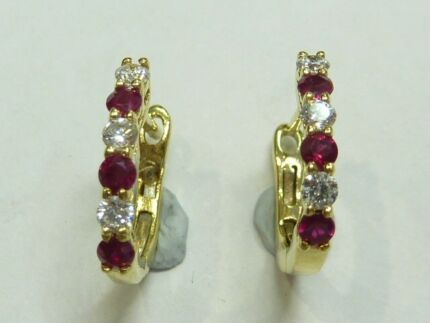18ct Yellow Gold Natural Diamond And Ruby Huggie Earrings