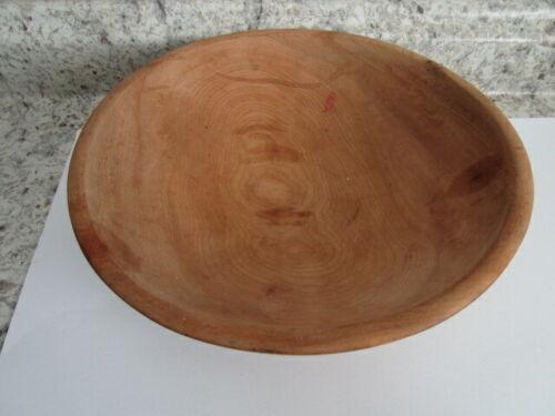 "Vintage Primitive Handmade Round Wooden Bowl 11"""