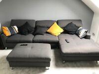 Hygena Azores Fabric Right Hand Corner Sofa & Footstool - Charcoal