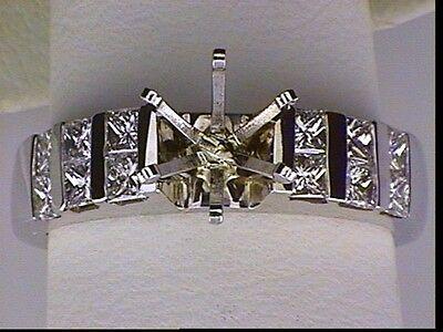 - Diamond engagement ring semi-mount setting .68 carat princess cut 18k white gold