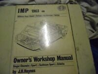 Hillman Imp Singer Chamois, Sport, Sunbeam Sport, Stiletto, - Worksop manual 1963 >