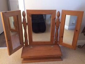 Pine Dressing Table Mirror - three angled mirrors