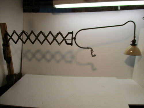 Early 20th Century Wall Mount Extendable Accordian Style Exam Light Faries Brass