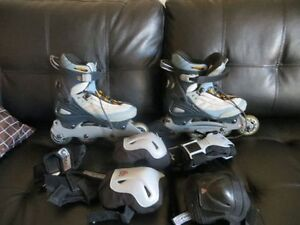 Firefly roller blades size 9 with elbow and knees pads