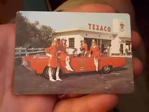 1968 TEXACO OIL & GAS STATION POCKET CALENDAR W FIRE FIGHTING THEM, COOL!