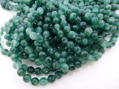 1 x Strand 6mm Green Jade Faceted Round Beads (approx 65 beads) Semiprecious