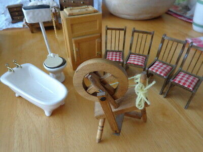Used, Doll House Miniatures *1/12th* Mixed Furniture (Bathroom  +) for sale  East Hartford