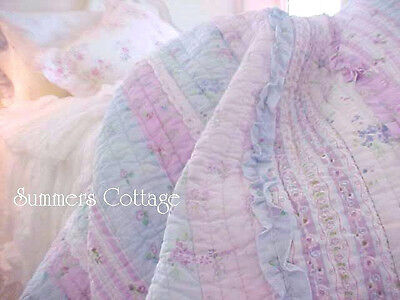 (LAVENDER BLUE & WHITE LACE TWIN BED QUILT SET SHABBY RUFFLES ROSES COTTAGE CHIC)