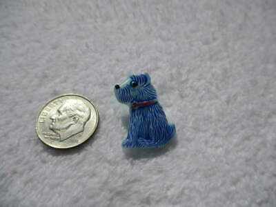 Vintage Glass Realistic Puppy Dog With Red Collar Button