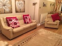John Lewis - Cream Leather 4 Piece Sofa, Chairs & Footstool - Excellent Condition