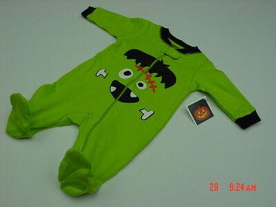 NWT Infant Boys Halloween Themed Playsuit Googly Eyes Frankenstein Green Fun New - Halloween Playsuit