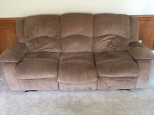 Used Brown Couch and Reclining Chair - $60.00 - Pick up only