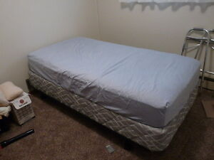 Twin mattress and box spring and frame