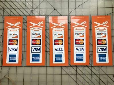 5 New Restaurant Credit Card Signs Visa Mastercard Discover Amex Stickers Decals