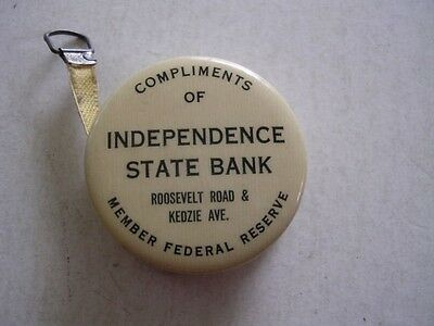 1924 Celluloid Adv Tape Measure Independence St Bank Roosevelt Kedzie Chicago Il