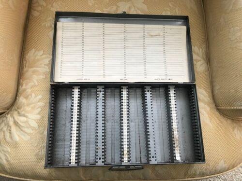 Vintage Mansfield Metal 35mm Slide Storage Box Case Holds 150,  2X2 Slides NICE!