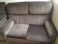 free sofa 2 seater plus 2 x sofa chairs grey grafton i think drylon.from pet / smoke free home.