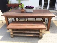 Solid wood garden table and bench