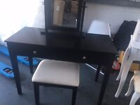 BRAND NEW BLACK DRESSING TABLE WITH MIRROR AND STOOL